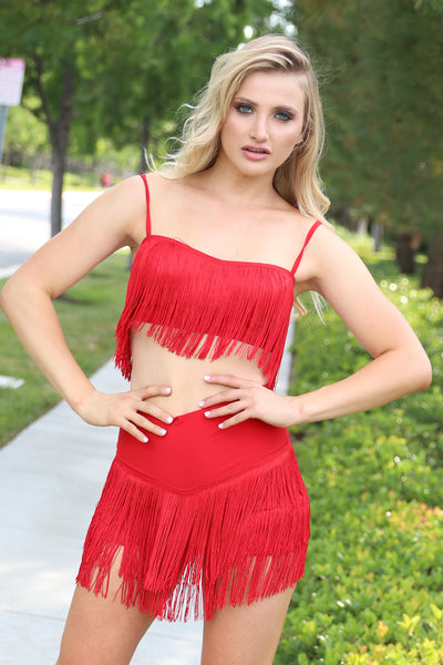CONQUER THE UNIVERSE FRINGE RED SHORT