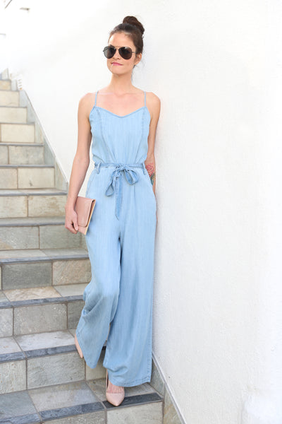 POWER OF LOVE WIDE LEGS LIGHT WASH JEAN JUMPSUIT