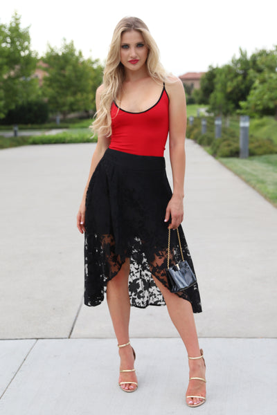POWER OF STYLE BLACK LACE SKIRT