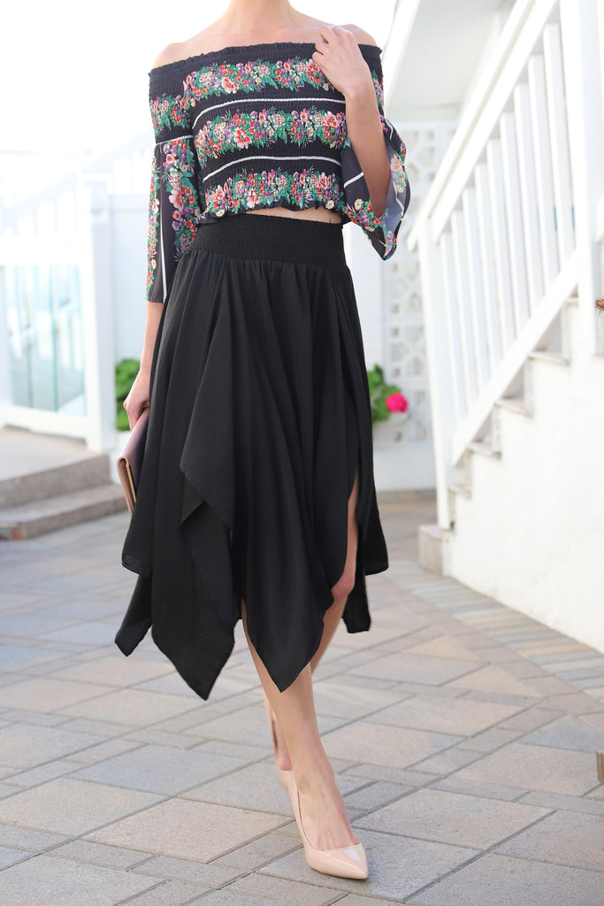 HIGH & LOW BLACK MIDI SKIRT