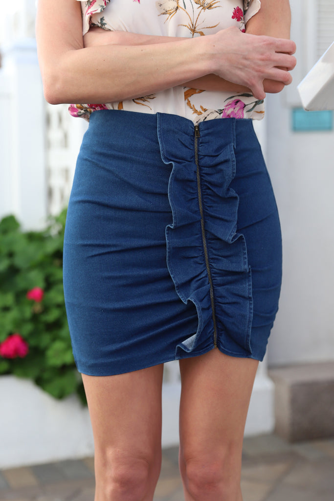 UPTOWN HEART OF STYLE JEAN SKIRT