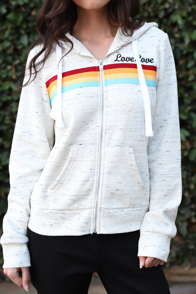 LOVE LOVE SIGN WHITE COMFY HOODIE