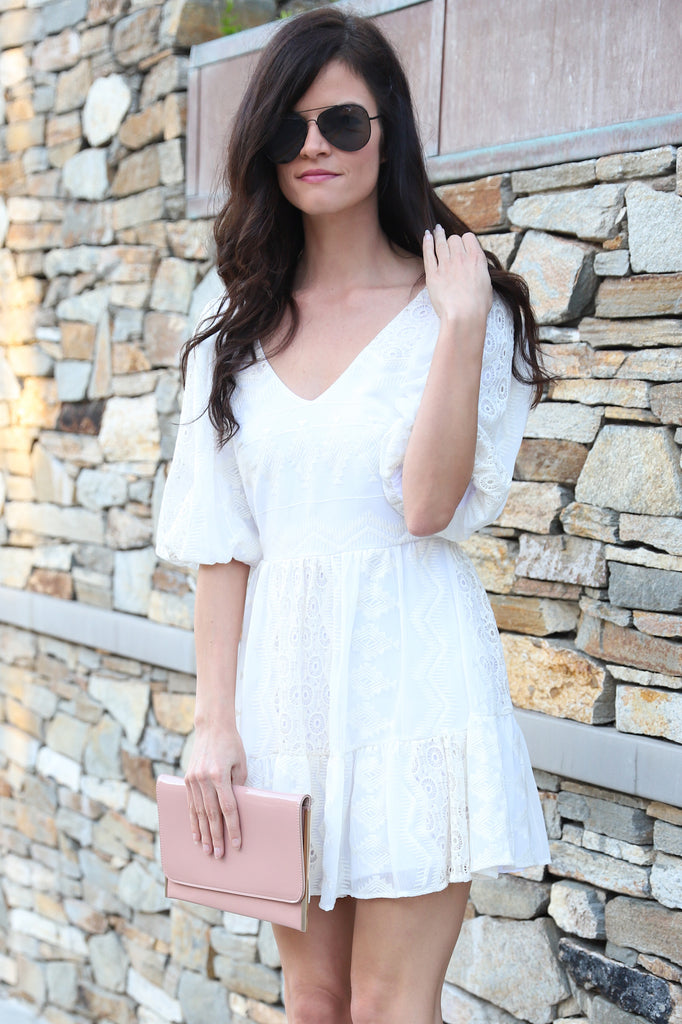 LOVELY IN LACE WHITE V-NECK DRESS