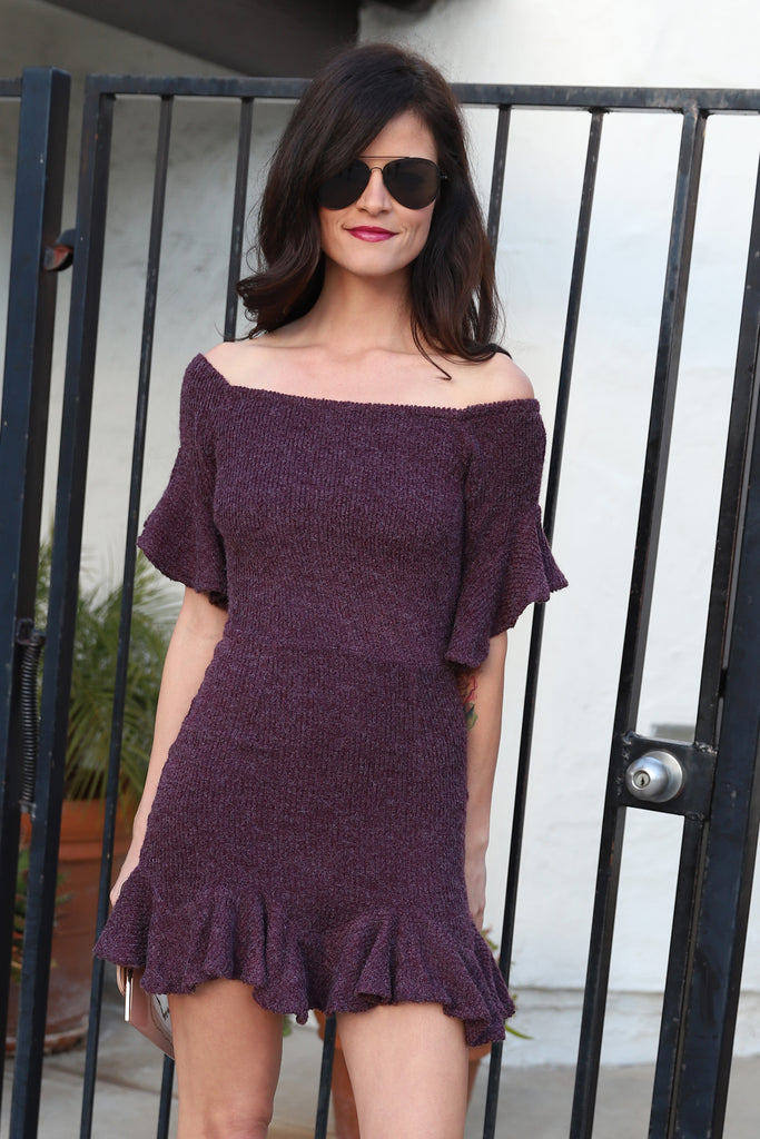 PURPLE FLOUNCE-HEM SWEATER DRESS