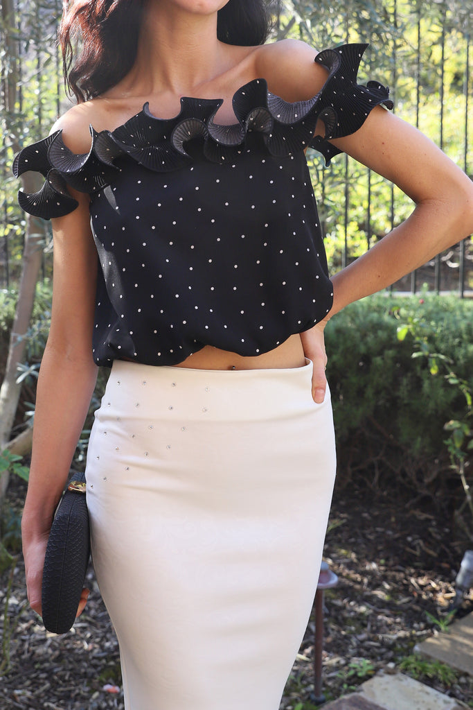 PRE-ORDER: BEST DATE BLACK POLKA DOT CROP TOP