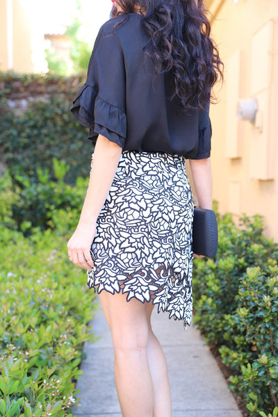 PRE-ORDER: BLACK & WHITE HIGH LOW LACE SKIRT