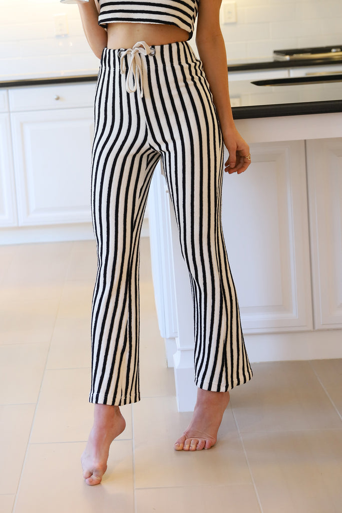 LADY LUXE STRIPED COTTON PANTS