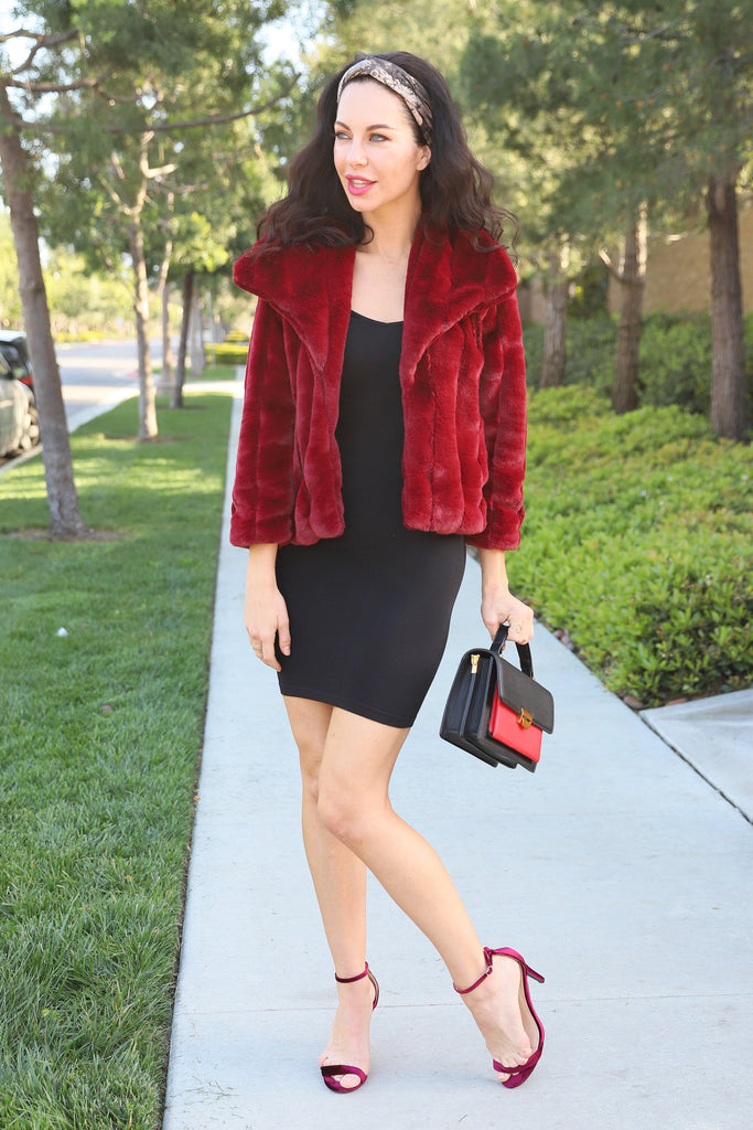 CRAZY FOR YOU FAUX FUR WINE COAT