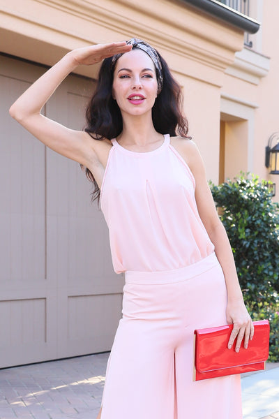 PERFECTION HALTER NECK BLUSH TOP