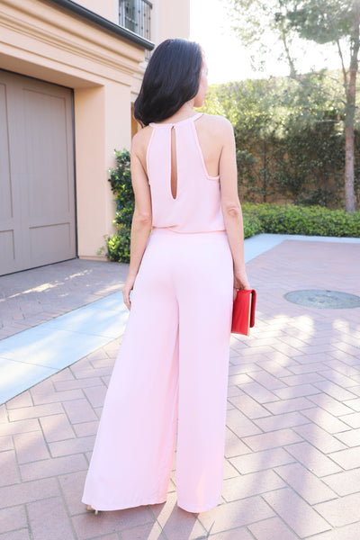 SLEEK STYLE HIGH WAISTED BLUSH PANTS