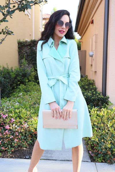 UPTOWN GIRL MINT TRENCH COAT