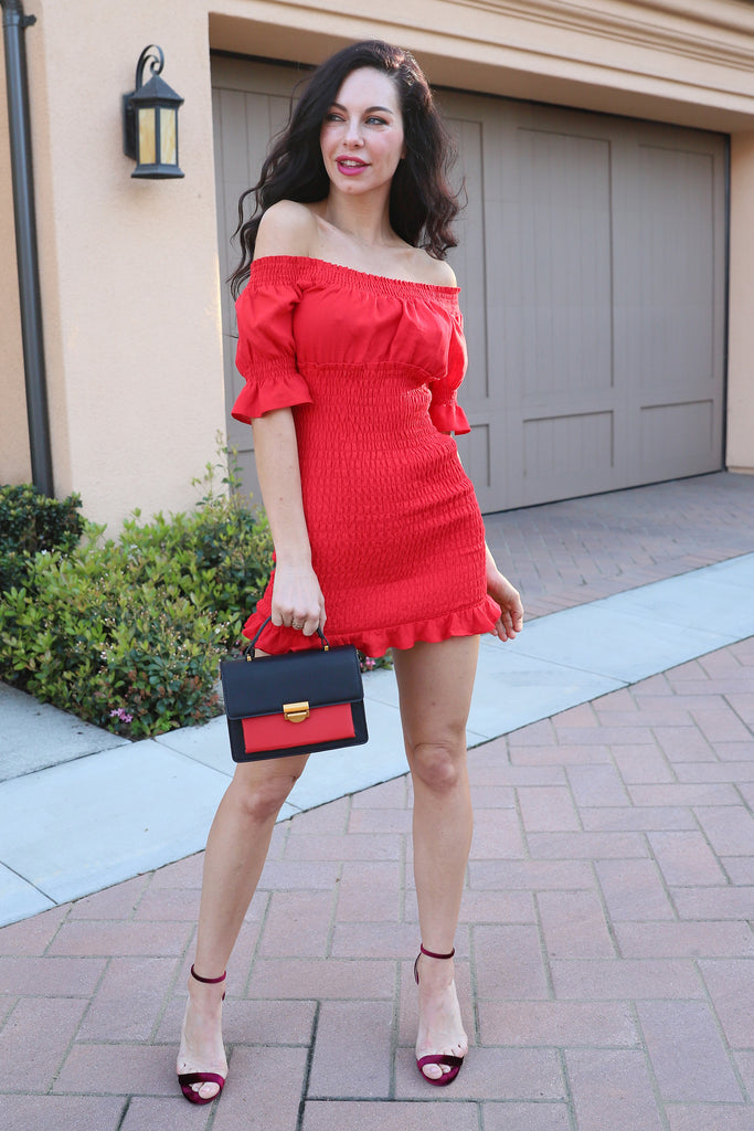 ONE WISH COTTON MINI RED DRESS