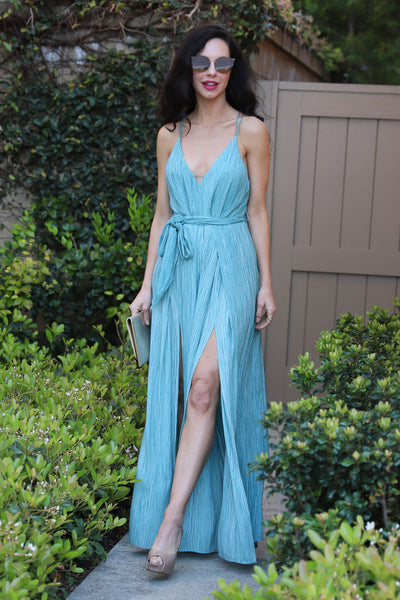 MOMENTS OF LIFE TEAL JUMPSUIT