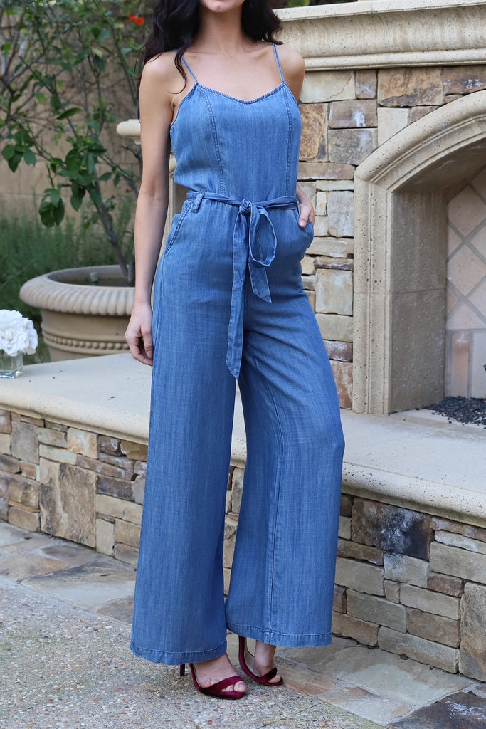 POWER OF LOVE WIDE LEGS MEDIUM WASH JEAN JUMPSUIT