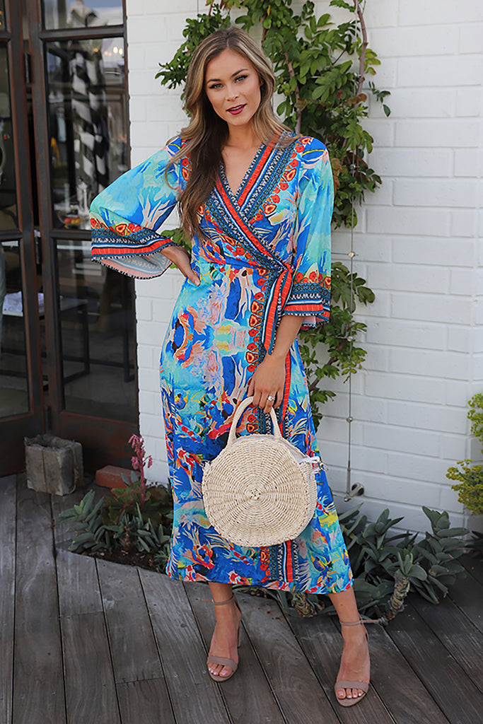 GREECE COUNTRYSIDE BLUE WRAP DRESS