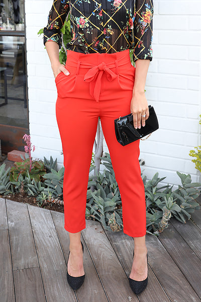 FEEL WONDERFUL HIGH WAISTED RED PANTS