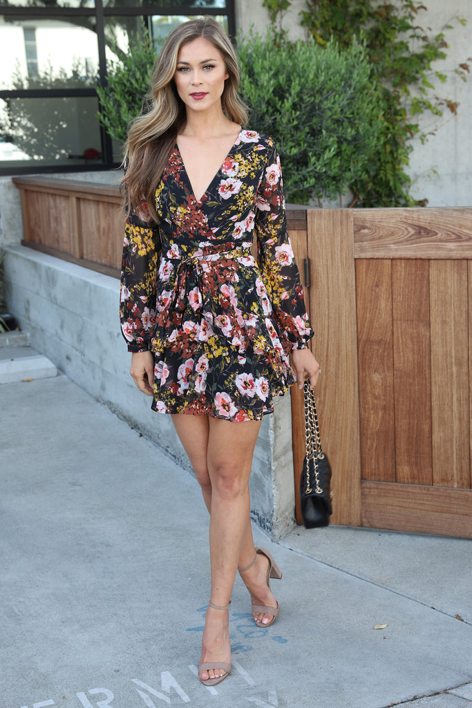 DEARLY LOVED BLACK FLORAL DRESS