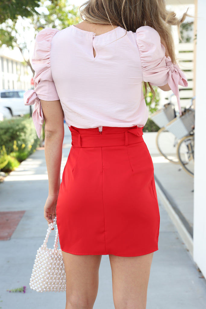 CENTER OF ATTENTION HOT RED SKIRT