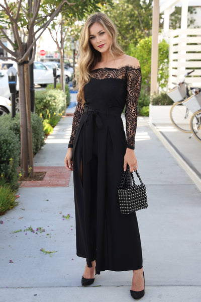 HOT NIGHTS IN LACE BLACK JUMPSUIT