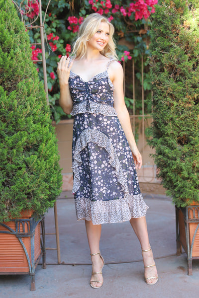 LOVE POEM RUFFLE FLORAL DRESS