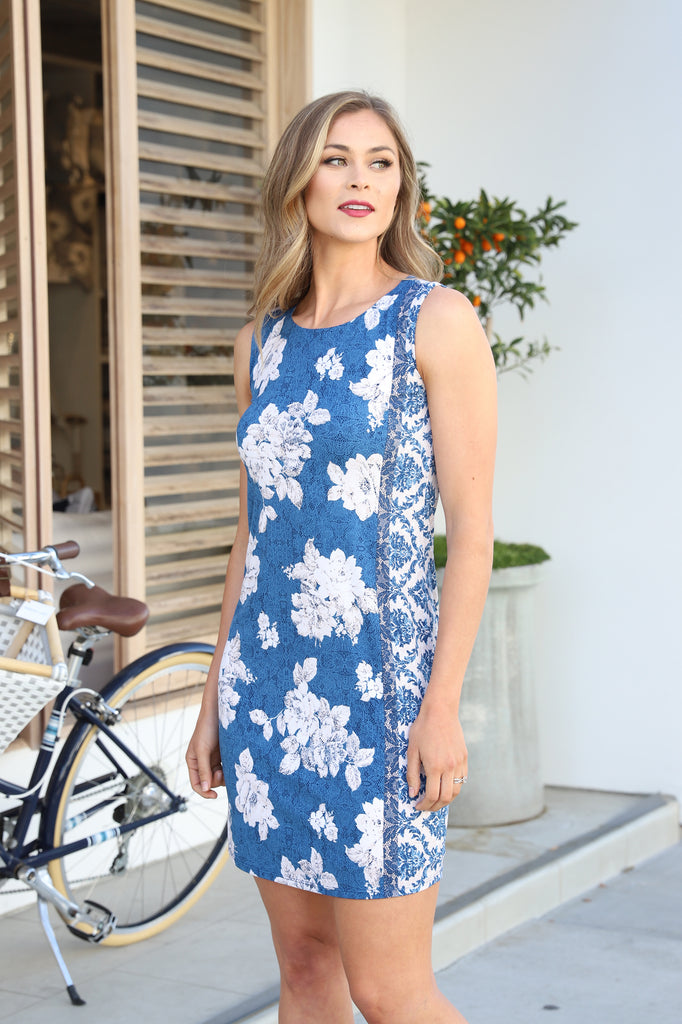 SEASIDE DREAM FLORAL BLUE DRESS