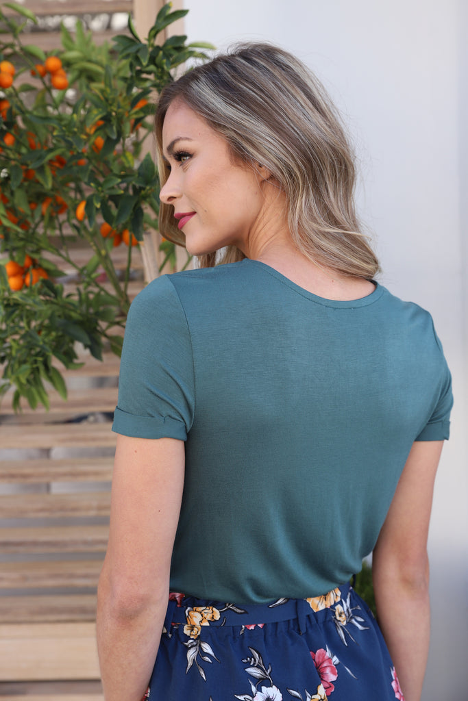 POWERHOUSE LACE UP TEAL TOP