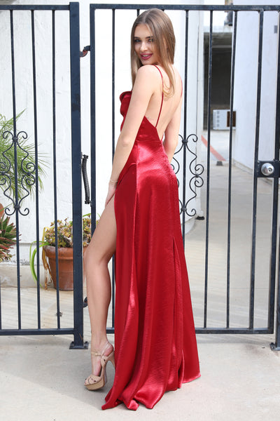 ROMANCE IN CALIFORNIA RED MAXI SATIN DRESS