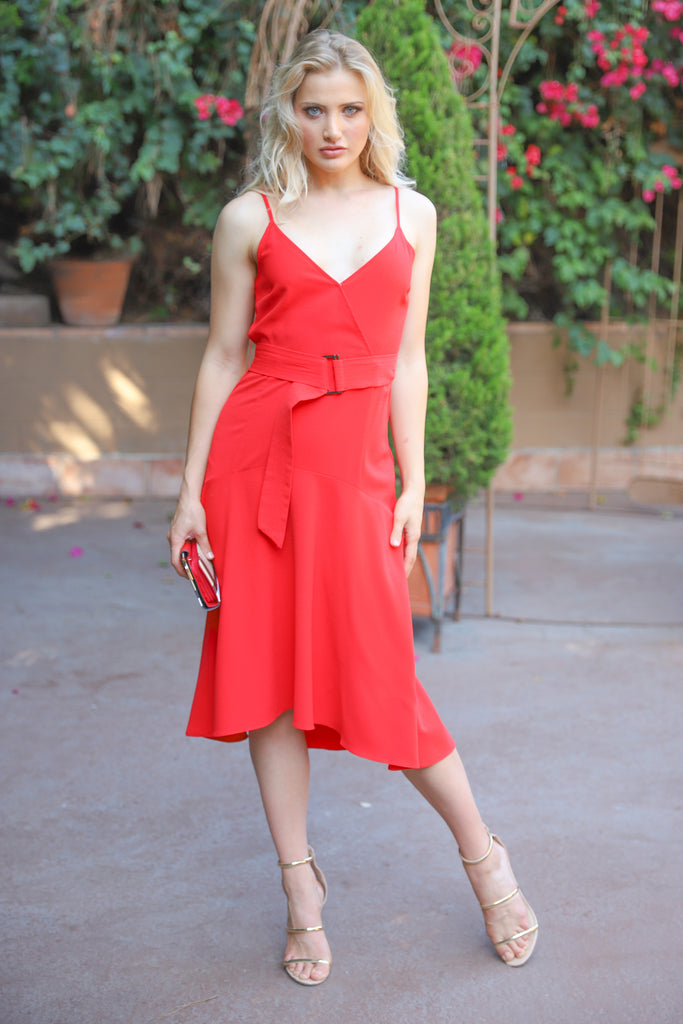 IRRESISTIBLE CHARM MIDI RED DRESS
