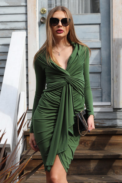 EVERGREEN LUXE COCKTAIL DRESS