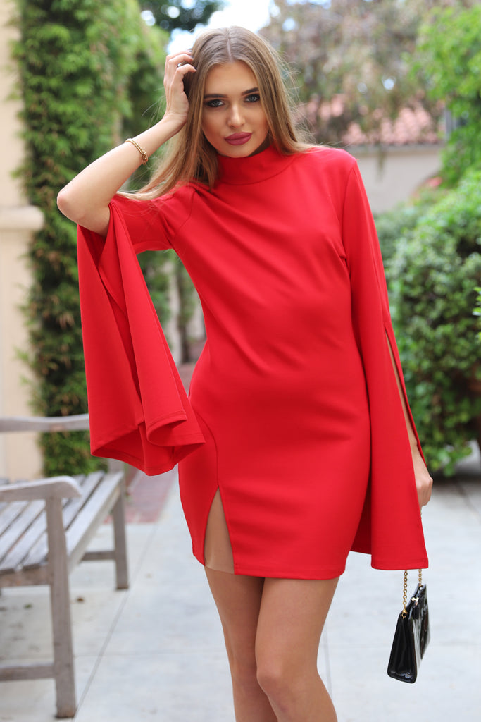 IS THIS LOVE BELL SLEEVE RED DRESS