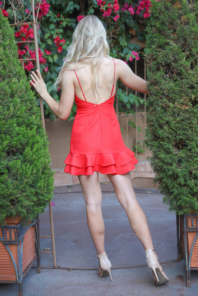 CELEBRATING LOVE RED MINI DRESS