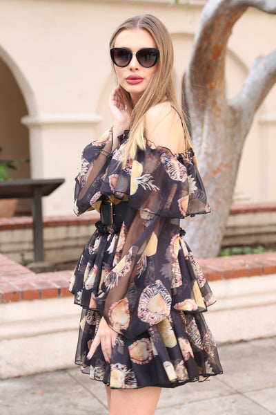 LOVE IN THE AIR BLACK FLORAL DRESS