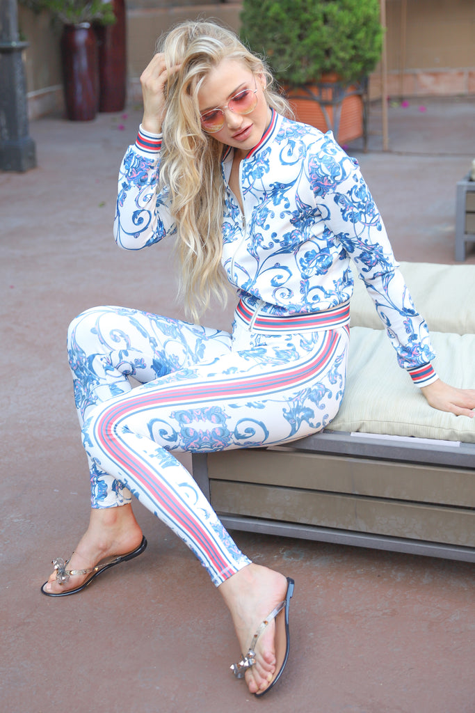PASSIONATE LOVER BLUE AND WHITE SPORT PANTS