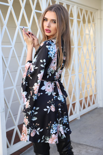 MEET ME IN PARIS BLACK FLORAL DRESS