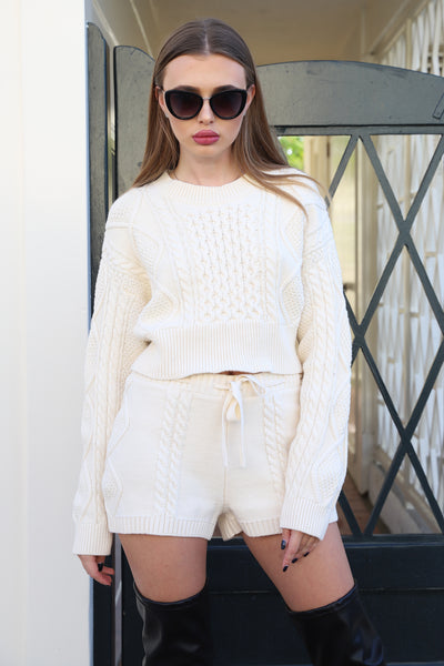 ADORE ME CROP KNIT BEIGE SWEATER TOP
