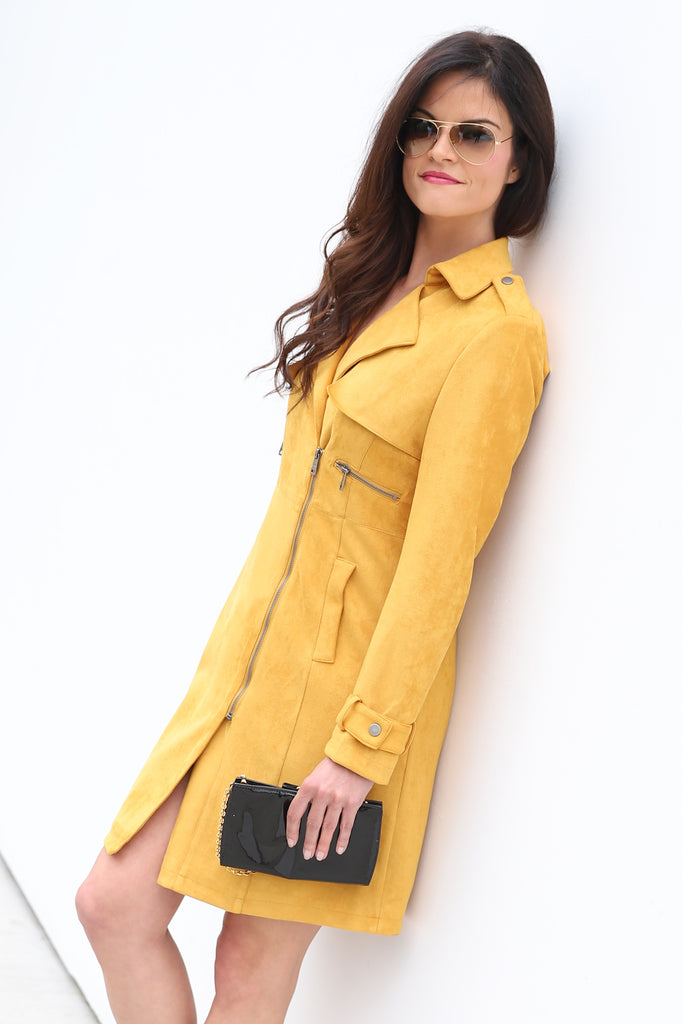 HELLO SUNSET MUSTARD SUEDE TRENCH COAT