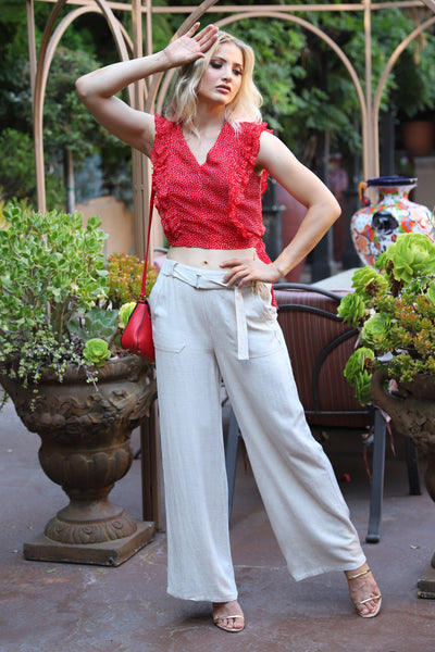 PURE LOVE BEIGE LINEN PANTS