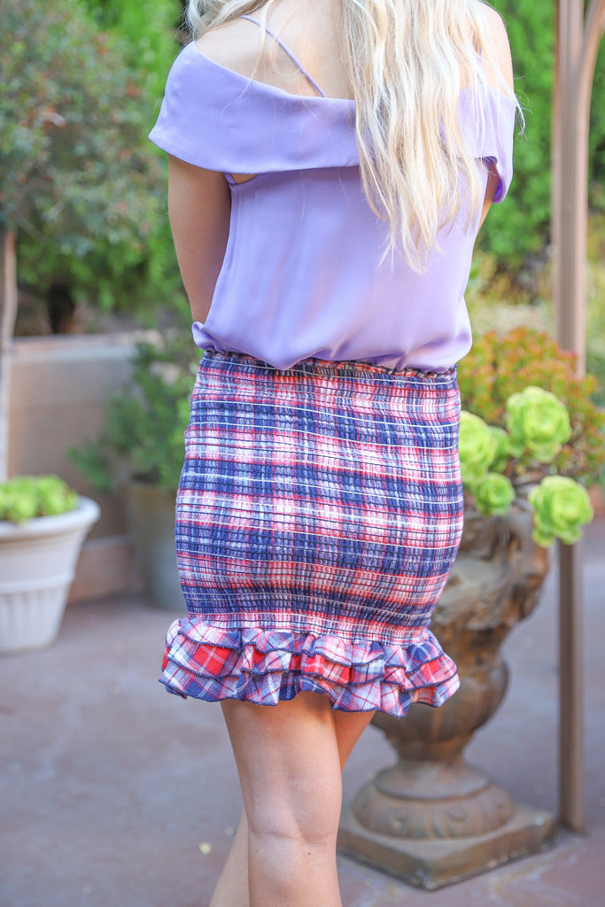 NEW ROMANCE NAVY PLAID SKIRT