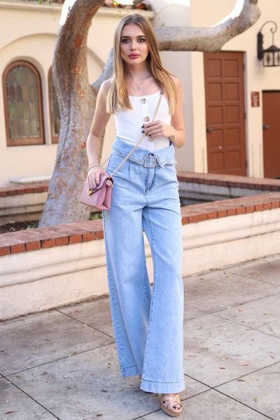 UPTOWN WIDE LEGGED HIGH WAISTED LIGHT DENIM JEANS