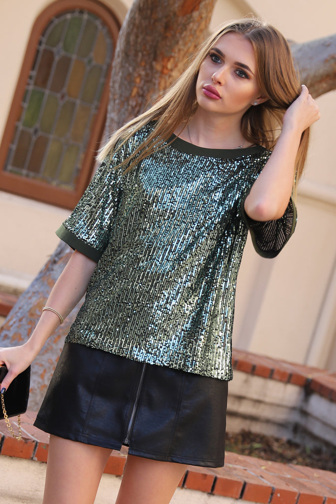 DAZZLING EVERGREEN SEQUIN TOP