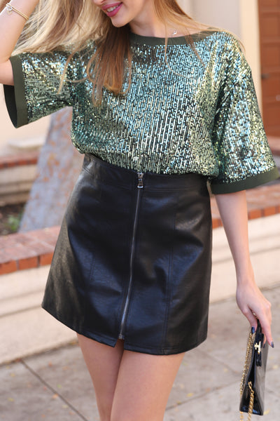 JUST LIKE A STAR MINI LEATHER SKIRT