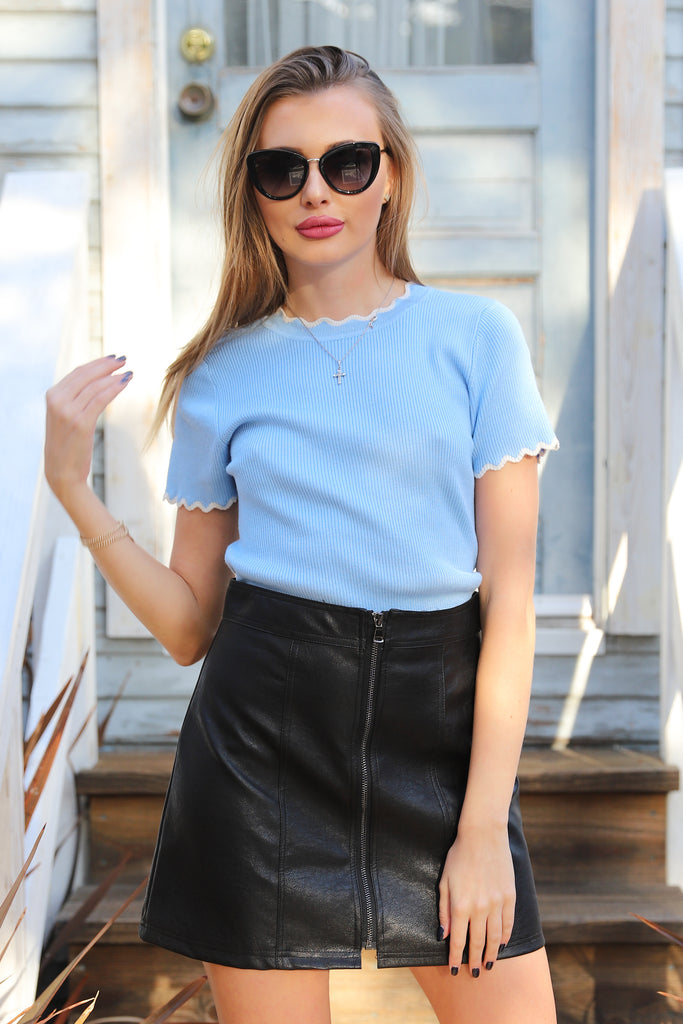 UPTOWN BEYOND BABY BLUE TOP