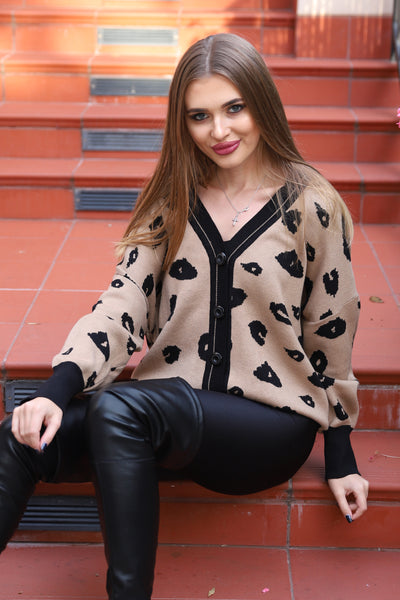 LOVING LIFE ANIMAL PRINT CARDIGAN