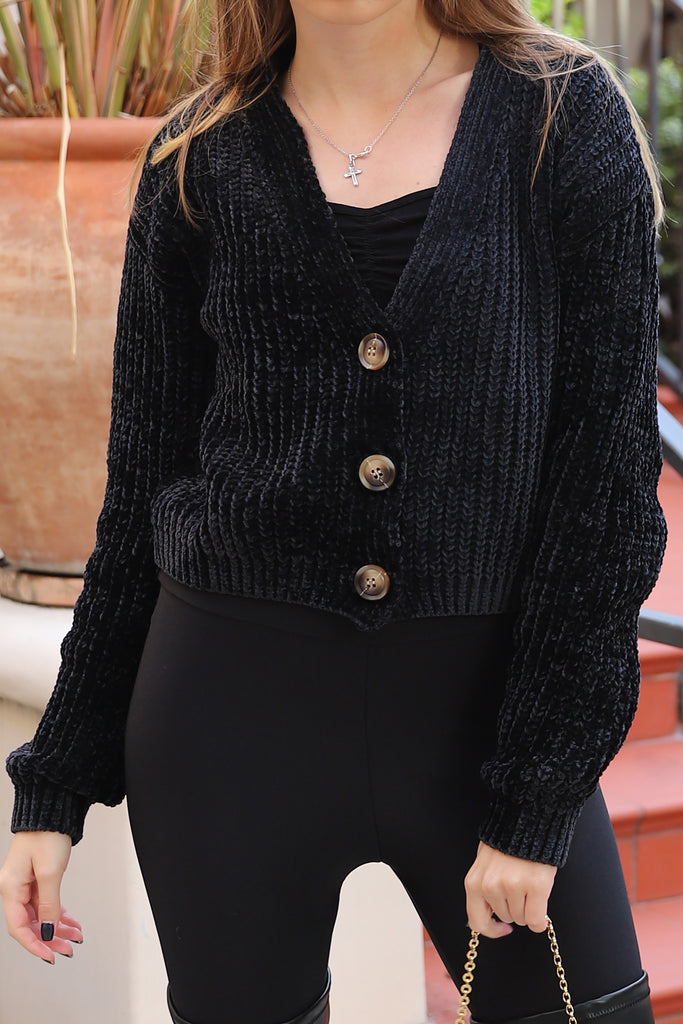SOFT LOVE BLACK CARDIGAN