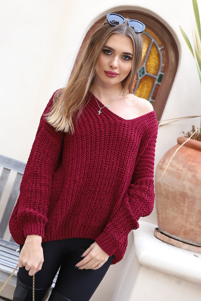 LOVELY SUNSET WINE OVERSIZED SWEATER