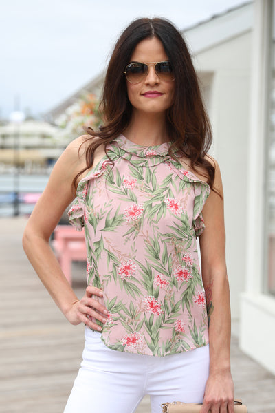 TROPICAL PRINT BLUSH TOP
