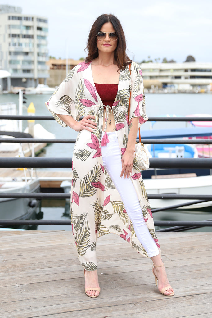 TROPICAL PRINT BEIGE COVER UP