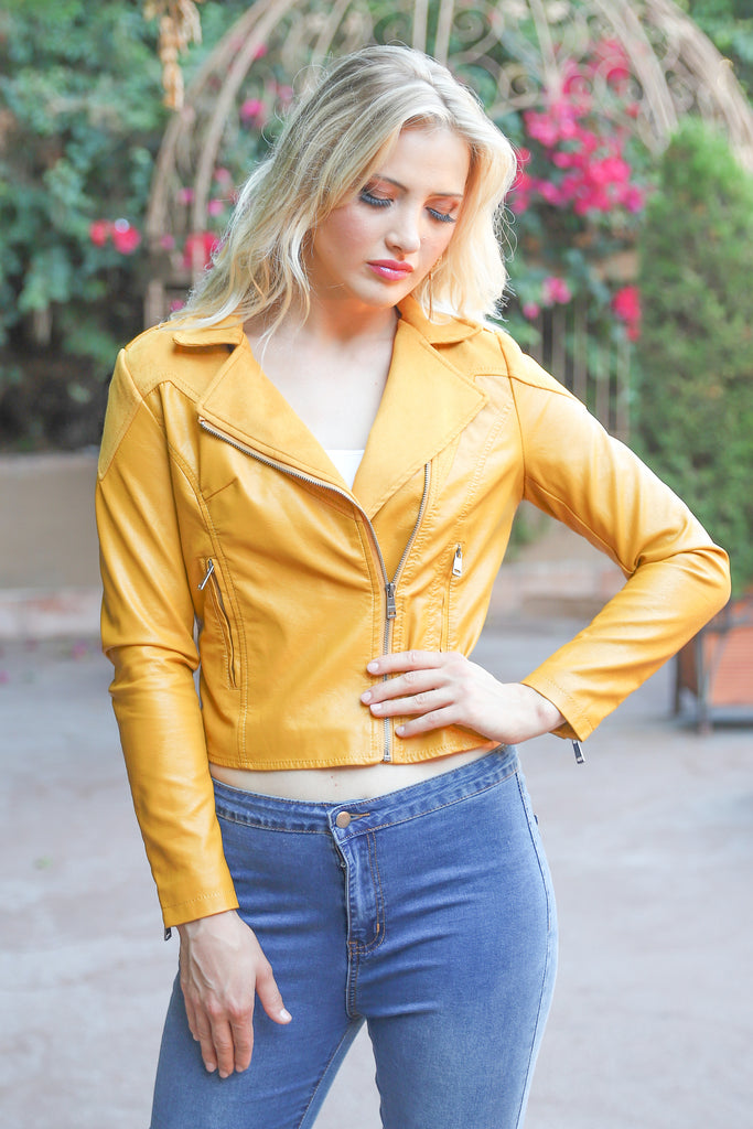 PRE-ORDER: UPTOWN MUSTARD FAUX LEATHER BIKER JACKET
