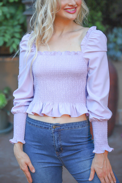 HOLD YOU CLOSER LAVENDER TOP