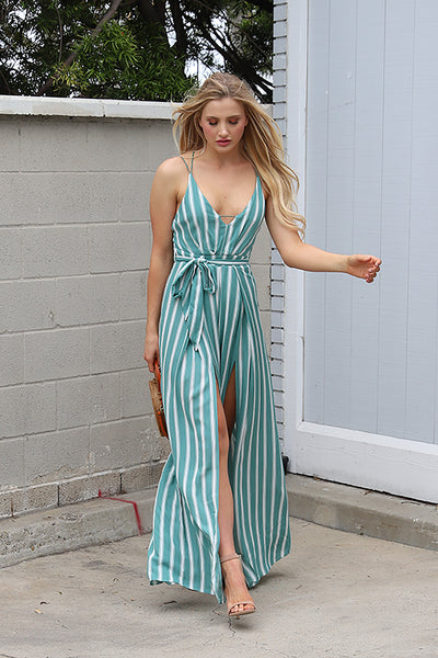 FEELS AMAZING MINT STRIPED JUMPSUIT